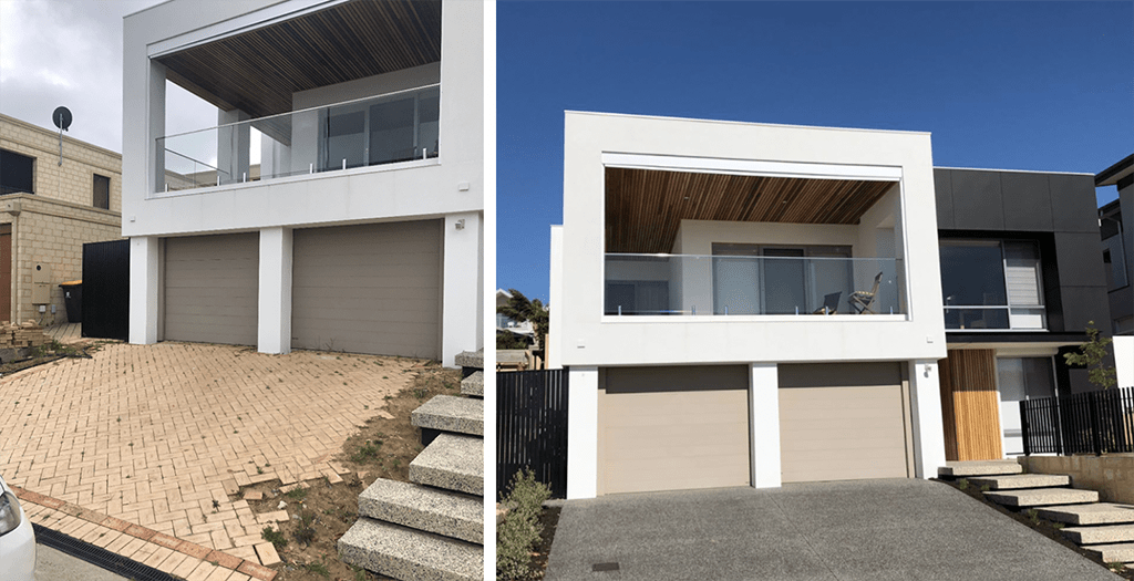 BEFORE & AFTER Front Driveway Using Exposed Aggregate Concrete at Westview Street, Scarborough