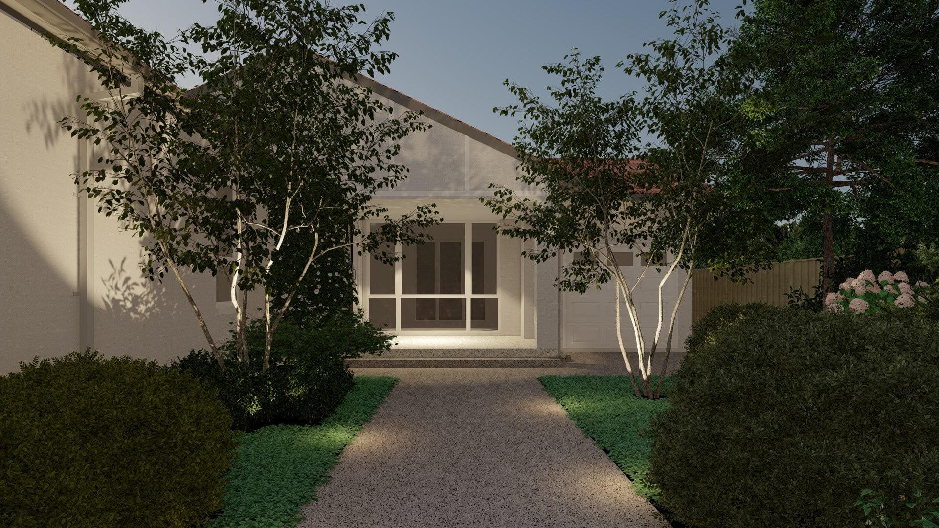 3d design render outdoor lighting dusk