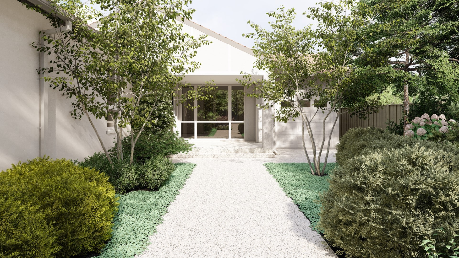 Perth Decorative Concrete verge appeal front pathway exposed aggregate driveway applecross landscaping designer