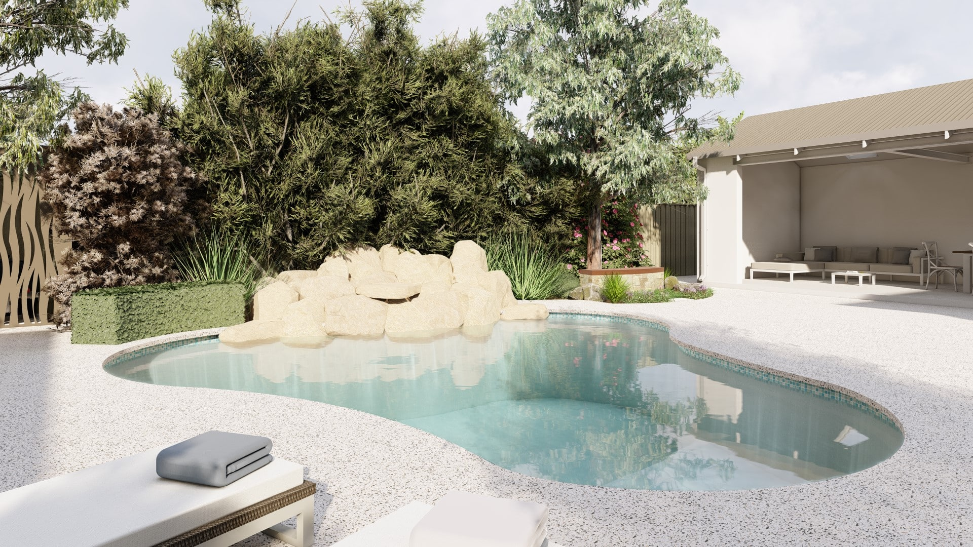 Seamless concrete pool edge Perth Decorative Concrete verge appeal front pathway exposed aggregate driveway applecross