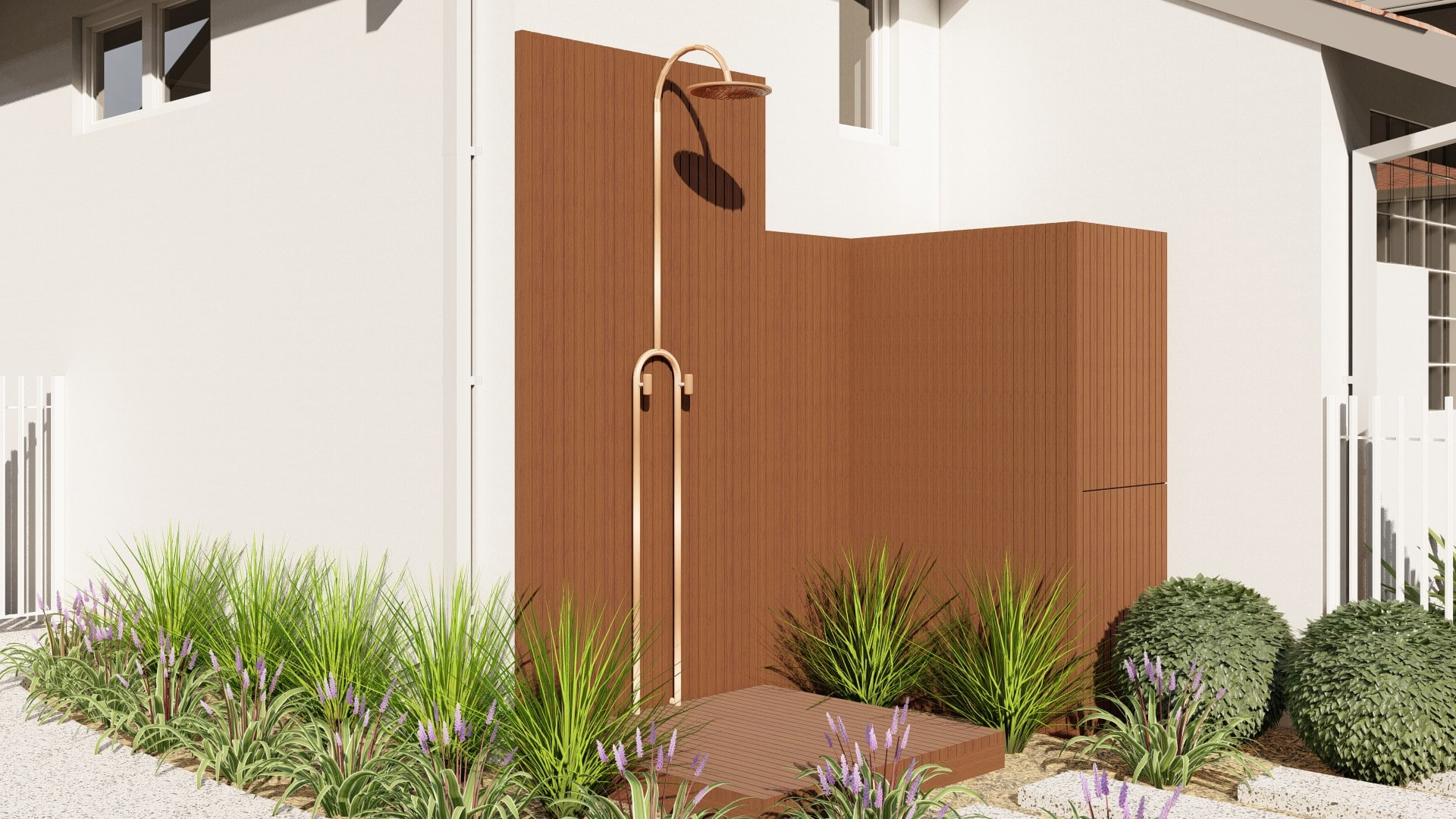 outdoor shower and perth planting