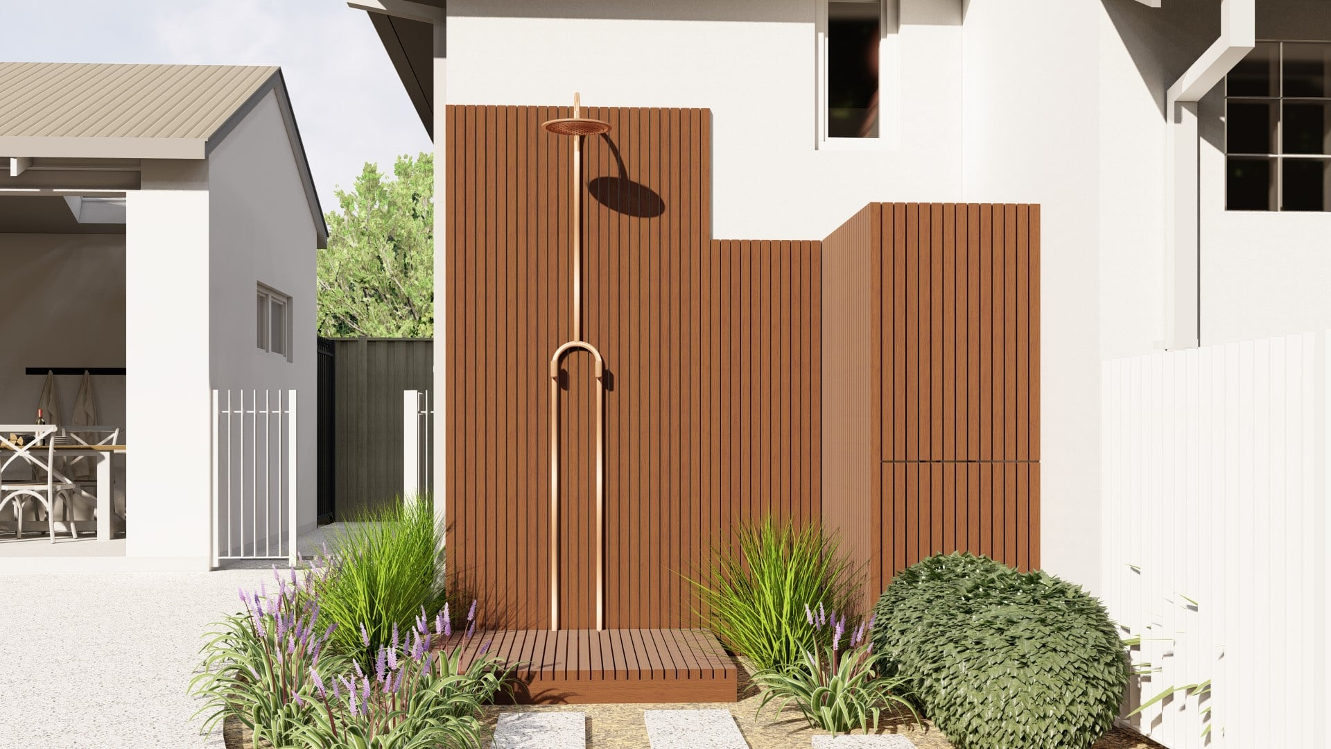 outdoor shower honed seamless pool edge concrete alfresco swimming pool perth decorative concrete specialists