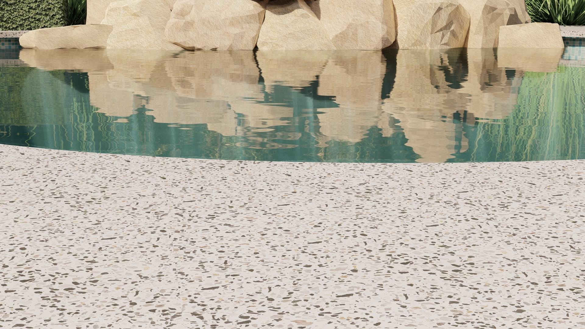 swimming pool rock closeup honed seamless pool edge concrete alfresco swimming pool perth decorative concrete specialists