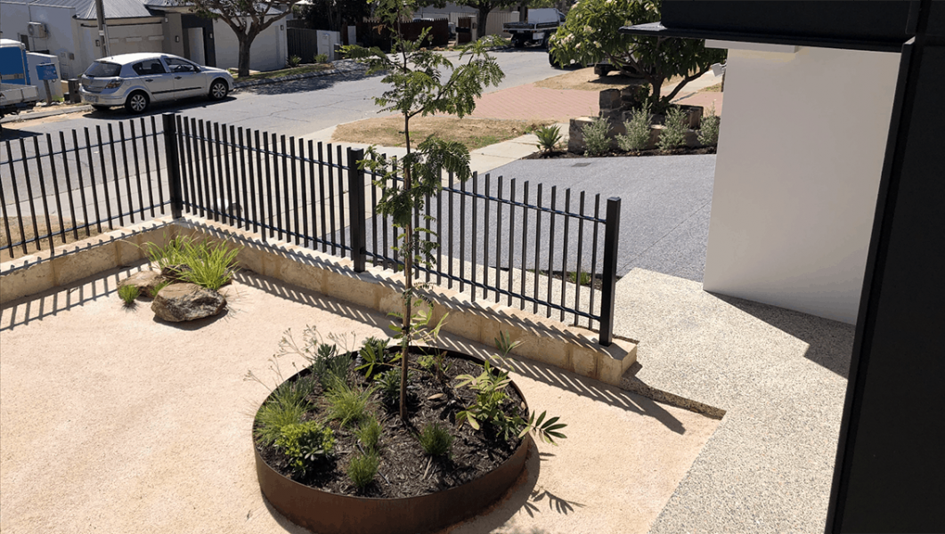 fencing and corten steel planter in Scarborough